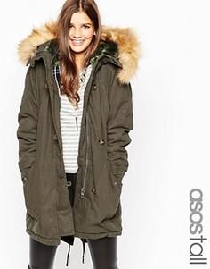 Куртка с подкладкой в клетку ASOS TALL MA1 - Зеленый
