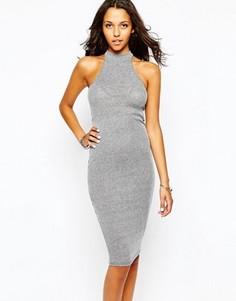 Платье миди с высокой горловиной Boohoo - Серый