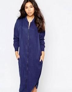 Длинное платье на молнии в стиле куртки-пилот Native Youth - Темно-синий