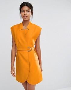 Платье-рубашка мини с поясом C/meo Collective - Оранжевый