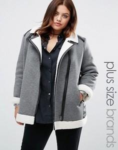 Куртка с отделкой из полиуретана и искусственной овечьей шерсти Alice & You - Серый
