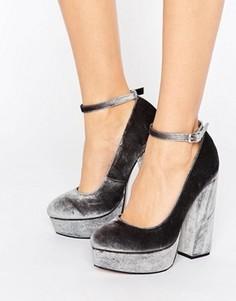 Бархатные туфли на платформе ASOS PANCAKES - Серый