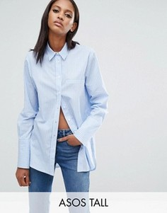 Oversize-рубашка бойфренда с двойными манжетами и пуговицами сбоку ASOS TALL - Мульти