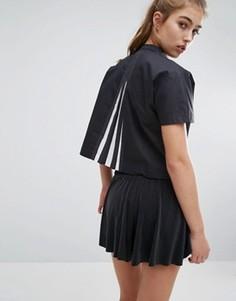 Топ со складками на спине adidas Originals - Черный