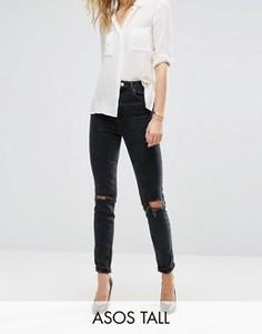 Узкие джинсы в винтажном стиле с завышенной талией ASOS TALL FARLEIGH - Черный