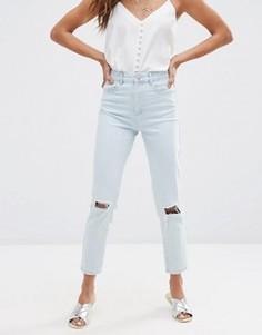 Голубые рваные джинсы слим в винтажном стиле с завышенной талией ASOS FARLEIGH - Синий