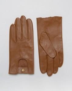 Светло-коричневые кожаные автомобильные перчатки ASOS - Рыжий