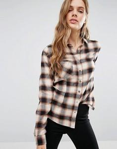 Кремовая рубашка в клетку Blend She - Коричневый