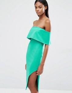 Асимметричное платье миди с глубоким лифом-бандо Lavish Alice - Зеленый
