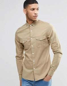 Светло-бежевая облегающая рубашка в стиле милитари с длинными рукавами ASOS - Stone