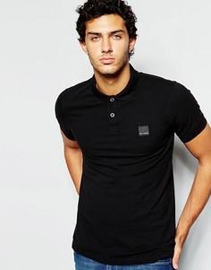 Черная приталенная футболка-поло с логотипом BOSS Orange by Hugo Boss - Черный