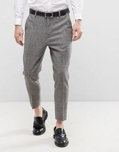 Темно-серые фактурные укороченные брюки ASOS - Серый