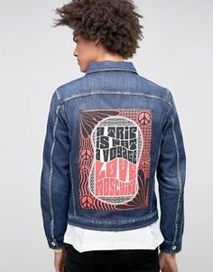 Джинсовая куртка с принтом на спине Love Moschino - Синий