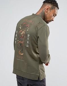 Свитшот с принтом дракона на спине Criminal Damage - Зеленый
