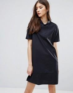Вельветовое платье‑рубашка ADPT - Темно-синий