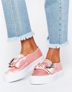 Кроссовки на платформе с бантом ASOS DENI - Розовый