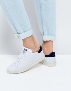Сине-белые кроссовки adidas Originals Primeknit Stan Smith - Белый