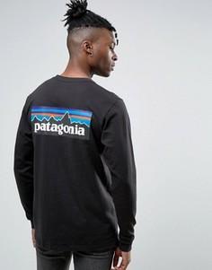 Черный лонгслив классического кроя с логотипом Patagonia P-6 - Черный