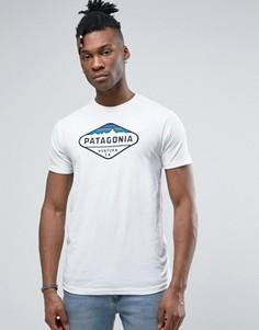 Белая меланжевая футболка с логотипом Patagonia Fitz Roy - Белый