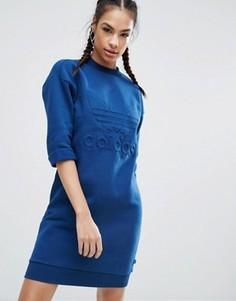 Трикотажное платье с высоким воротом и логотипом-трилистником adidas Originals Nyc - Синий