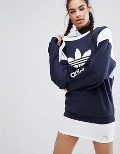 Свитшот в стиле колор блок с логотипом adidas Originals Tokyo - Синий