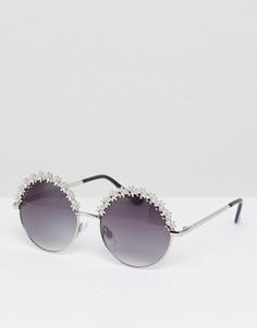 Круглые солнцезащитные очки с цветочной отделкой AJ Morgan Twinkletoes - Серебряный