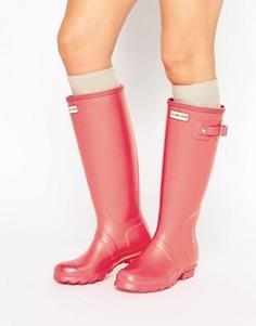 Ярко-розовые резиновые сапоги с матовым эффектом Hunter Original Tall - Розовый