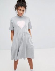 Платье-футболка с надписью No Thanks Lazy Oaf - Серый