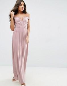 Платье макси со сборками ASOS WEDDING - Розовый