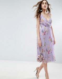 Плиссированное платье миди с принтом и завязками на плечах ASOS - Мульти