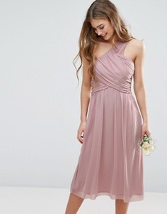 Сетчатое платье миди на одно плечо со сборками ASOS WEDDING - Розовый