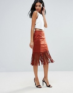 Юбка с бахромой на подоле Glamorous - Красный