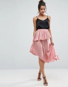 Атласная юбка миди ASOS - Розовый
