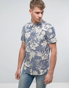 Рубашка с коротким рукавом и цветочным принтом Brave Soul - Темно-синий