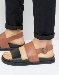 Кожаные сандалии на танкетке (коричневый/черный) ASOS - Рыжий