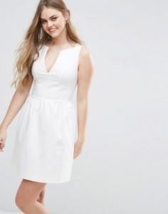 Короткое приталенное платье с V-образным вырезом Vila - Белый