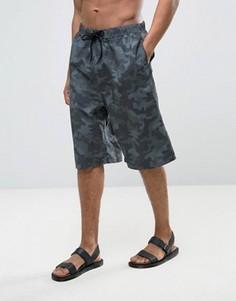 Длинные широкие шорты для плавания с камуфляжным принтом ASOS - Зеленый