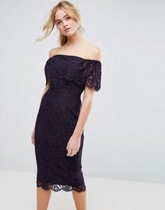 Кружевное платье-футляр миди ASOS Bardot - Темно-синий