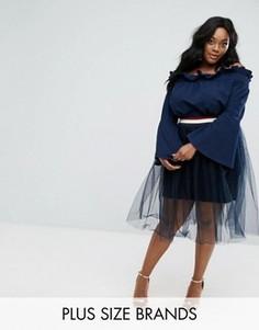 Сетчатая юбка с поясом в полоску Elvi - Темно-синий