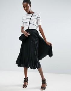 Плиссированная юбка миди на пуговицах ASOS - Черный