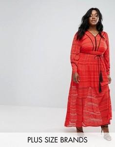 Кружевное платье макси Elvi - Красный