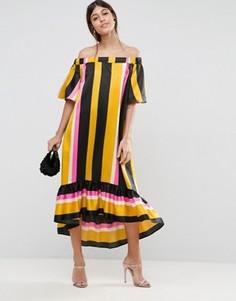Платье миди в полоску с вырезом лодочкой ASOS - Мульти