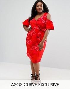 Платье миди с тропическим принтом, поясом и открытыми плечами ASOS CURVE - Мульти