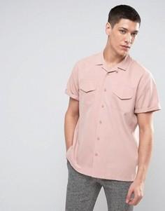Розовая рубашка классического кроя из вискозы с отложным воротником ASOS - Розовый