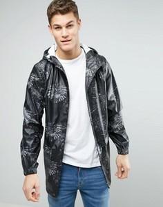 Водонепроницаемая куртка с капюшоном и принтом D-Struct - Черный