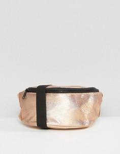 Фактурная сумка-кошелек на пояс цвета металлик ASOS - Медный