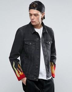 Черная джинсовая куртка с вышивкой ASOS - Черный