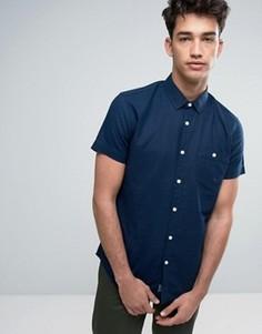 Рубашка из хлопка и льна с короткими рукавами Threadbare - Темно-синий