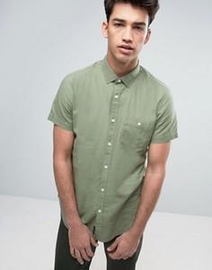Рубашка из хлопка и льна с короткими рукавами Threadbare - Зеленый