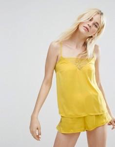 Пижамные шорты и топ с кружевом Monki - Желтый